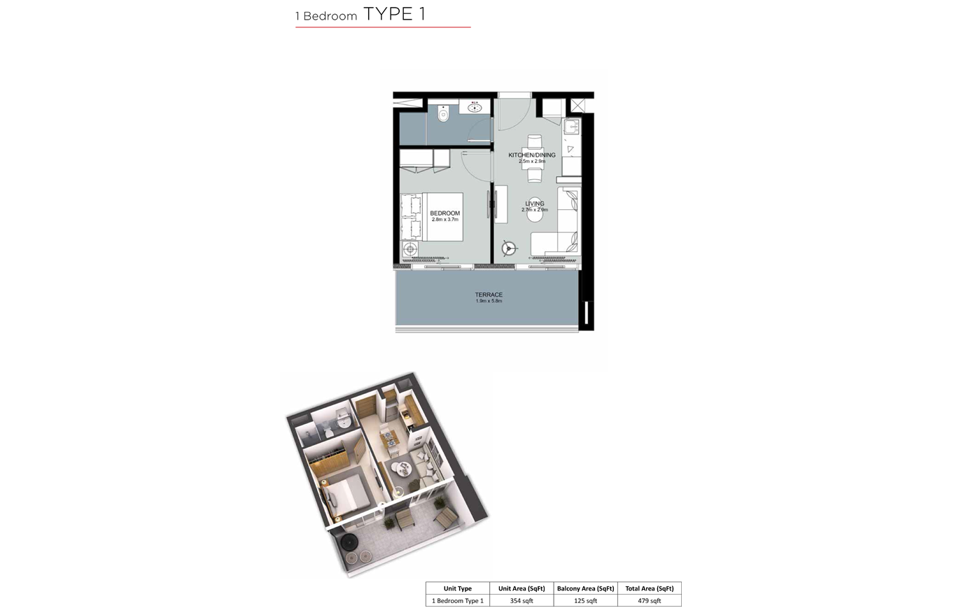 1 Bedroom Type 1, Size 479 sq.ft