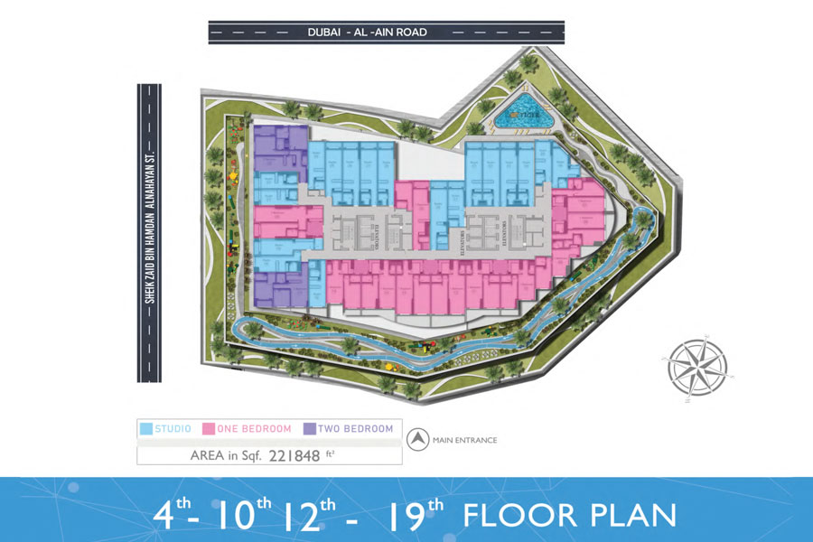 4th-10th & 12th-19th - Floor, Area: 22,1848 Sq. Ft.