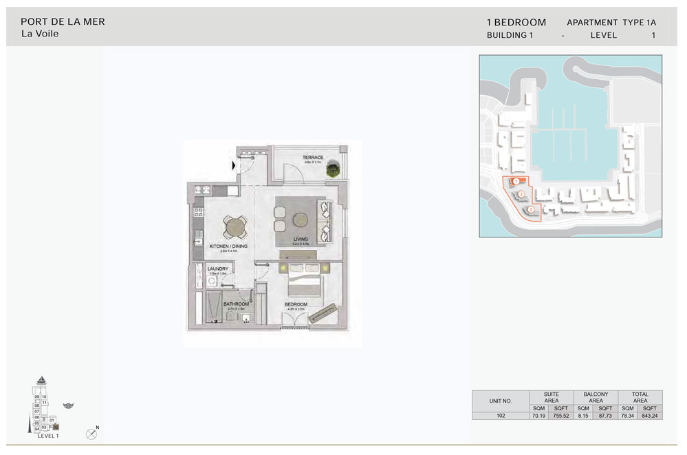1-BR,Type-1A-Level-1, Size-843.24 sq.ft