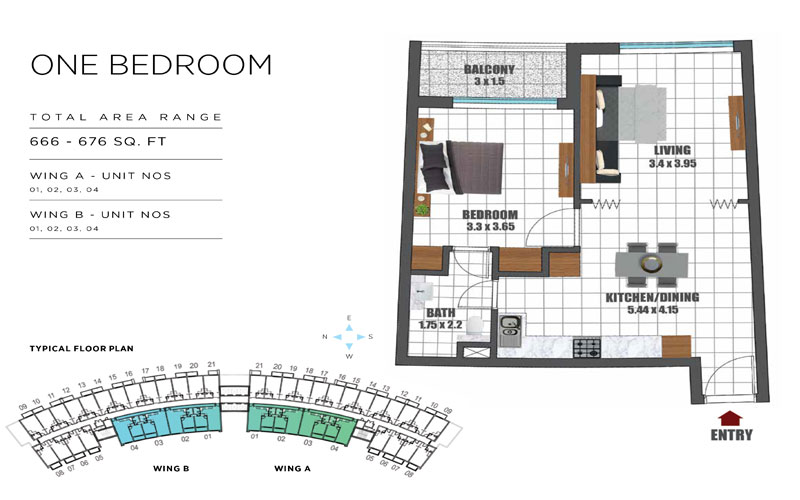 1 Bedroom, Wing A - Unit 01-04, Wing B - Unit 01-04, Size - 666-676 Sq Ft
