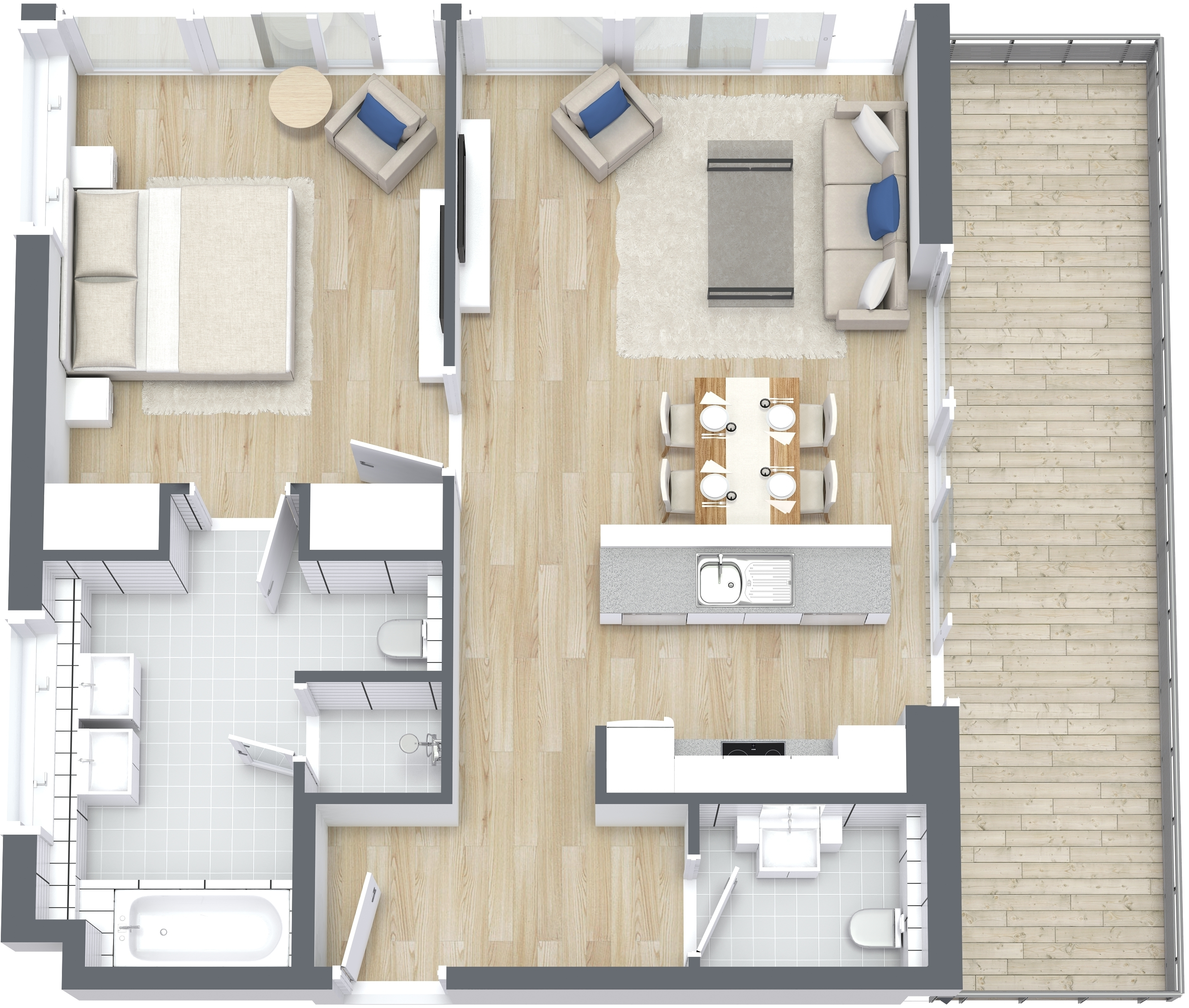 1 Bedroom Type A Apartment, Size 1000 sq ft