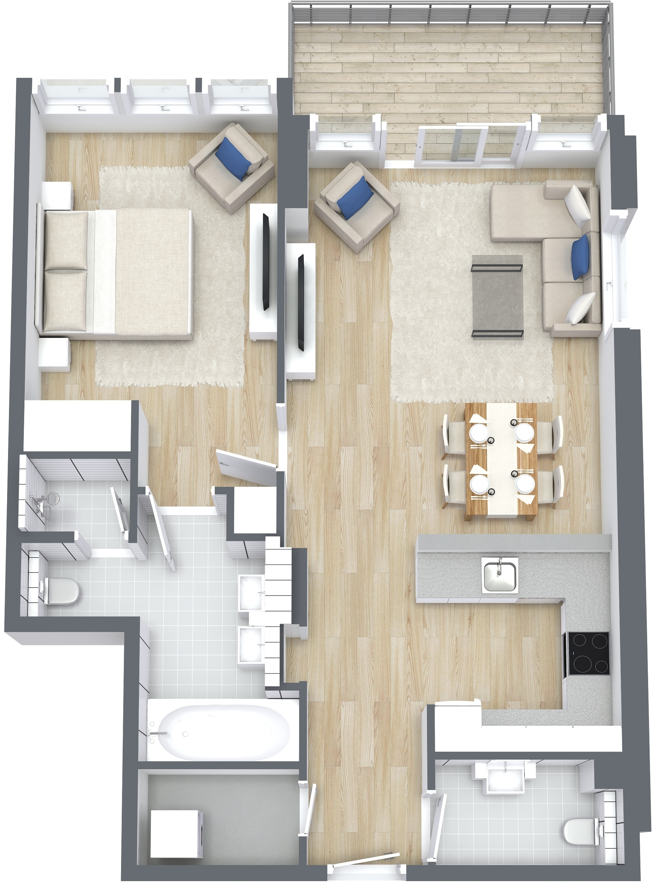 1 Bedroom Type B Apartment, Size 908 sq ft