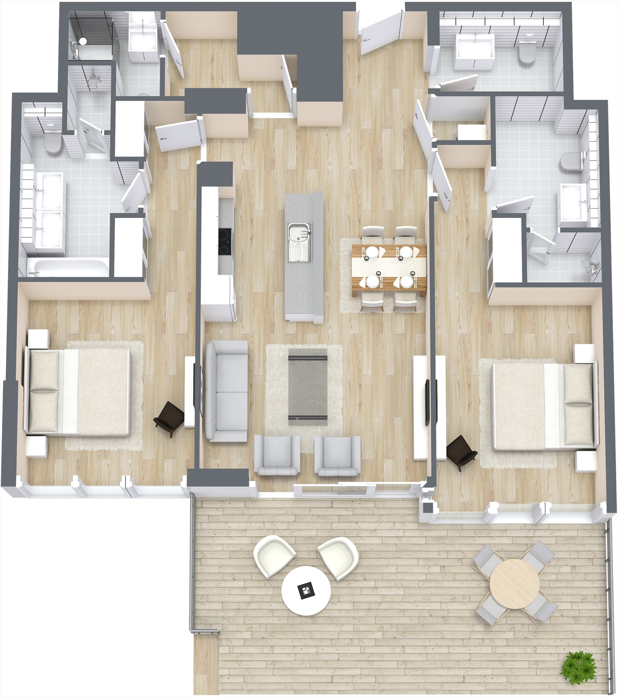 2 Bedroom Apartment Type A, Size 1346 sq ft