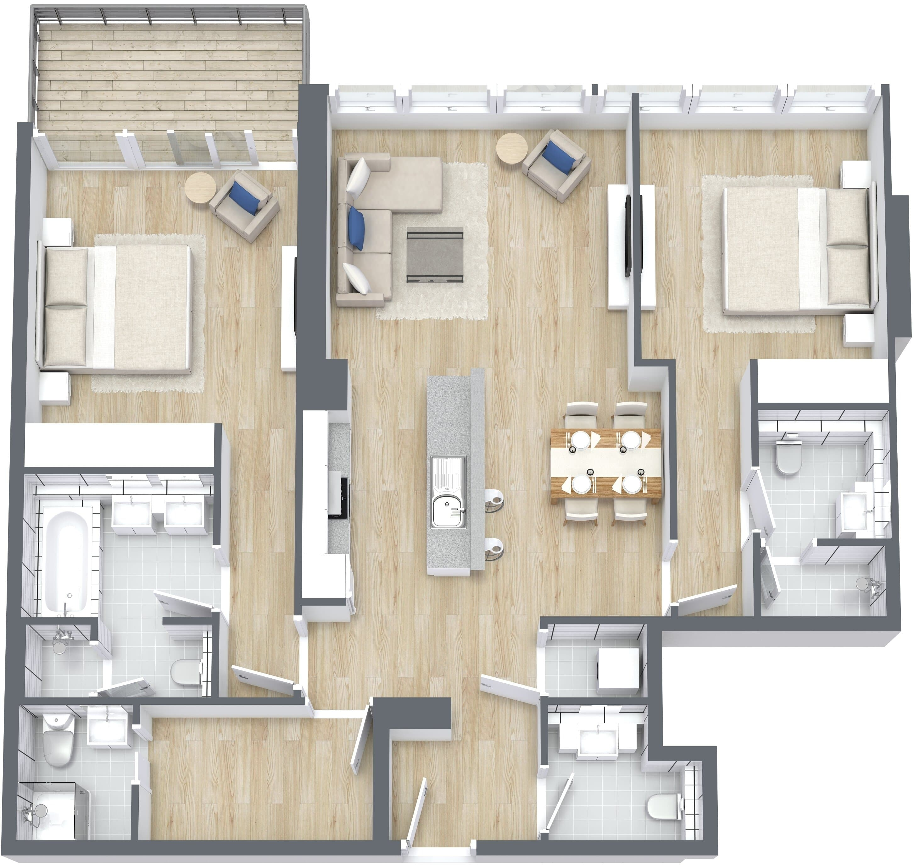 2 Bedroom Apartment Type B, Size 1329 sq ft