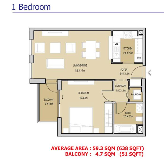 1 Bedroom - 59.3 Sq.M