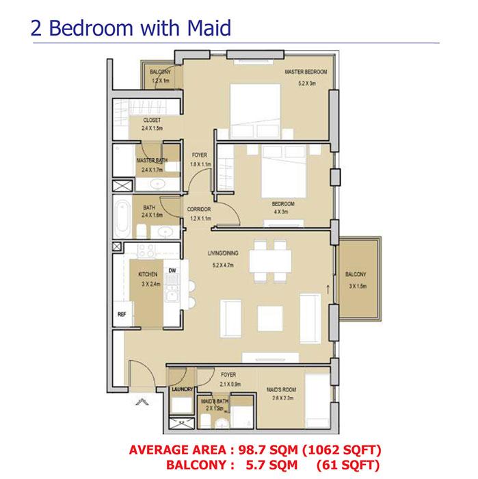 2 Bedroom Duplex With Maid