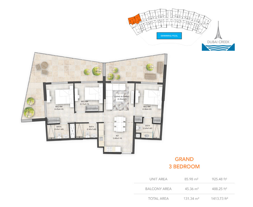 3-Bedroom, Grand, Size-1413.73 sq.ft