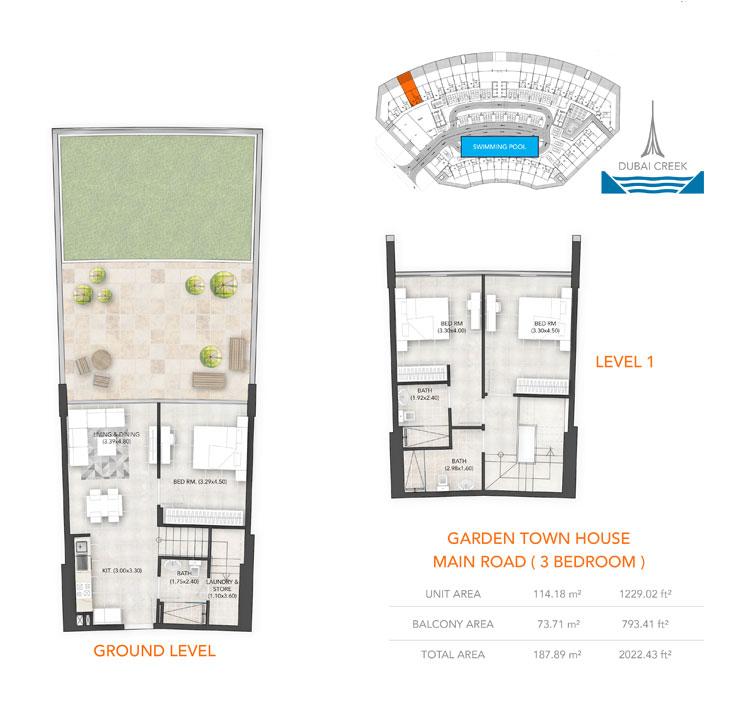 3-Bedroom, Ground-Level, Level-1, Size-2022.43 sq.ft