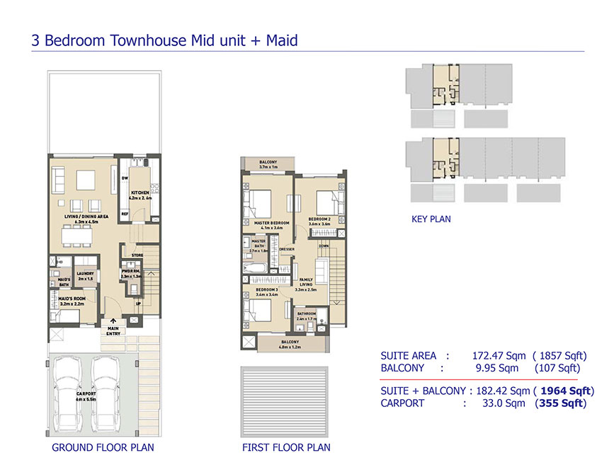 Arabella 3 at mudon townhouses and villas floor plan for Townhouse layout 3 bedrooms