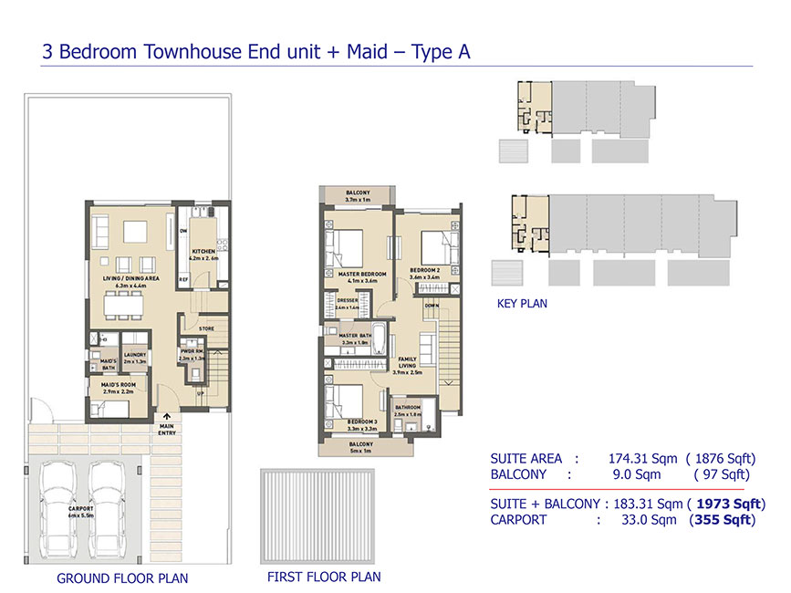 Arabella 3 at mudon townhouses and villas floor plan for 4 bedroom townhouse designs