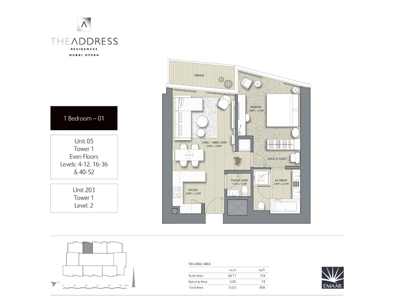 Tower 1, 1 Bedroom Unit 05, 203, Size 808 Sq Ft