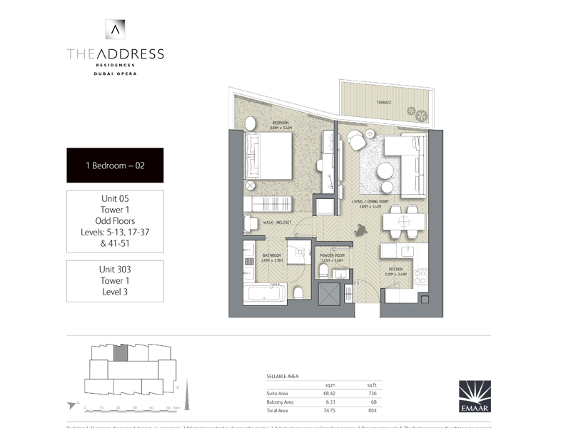 Tower 1, 1 Bedroom Unit 05, 303, Size 804 Sq Ft