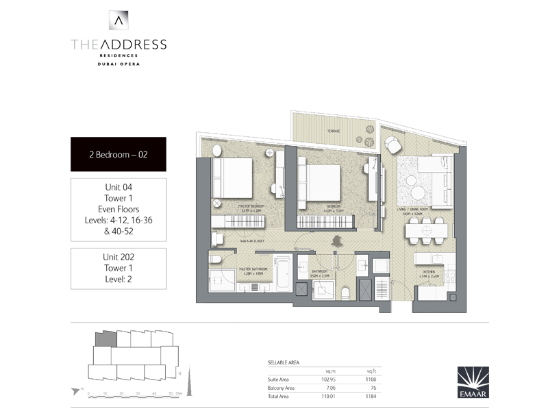 Tower 1, 2 Bedroom, Unit 04,202, Size 1184 Sq Ft