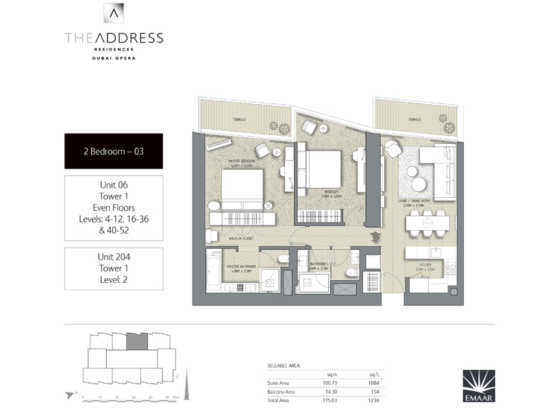 Tower 1, 2 Bedroom, Unit 06,204, Size 1238 Sq Ft