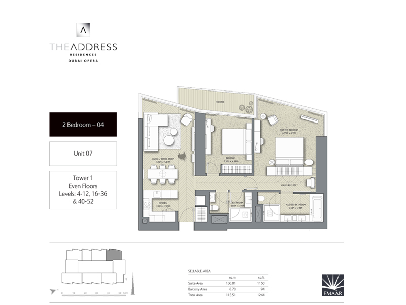 Tower 1, 2 Bedroom, Unit 07, Size 1264 Sq Ft