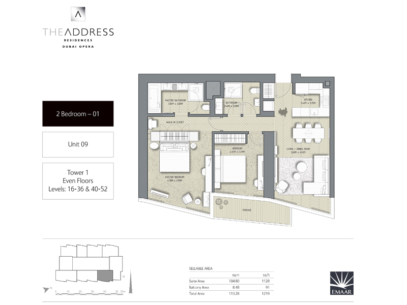 Tower 1, 2 Bedroom, Unit 09, Size 1219 Sq Ft