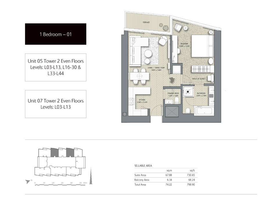 1-Bedroom,Tower-2,Size -798.90 - Sq-Ft