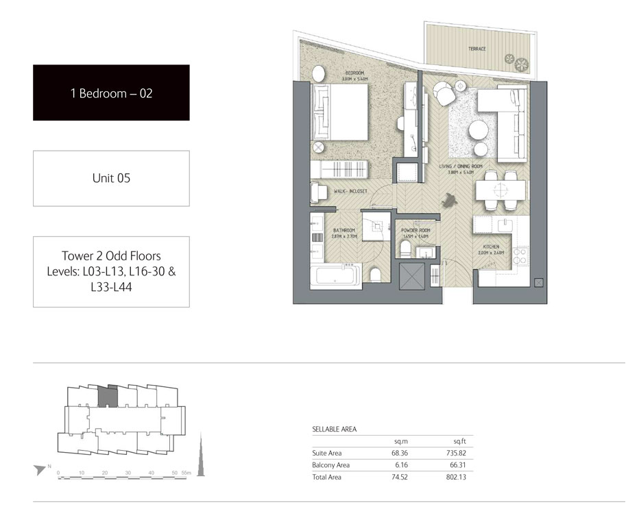1-Bedroom,Tower-2,Size - 802.13 - Sq-Ft