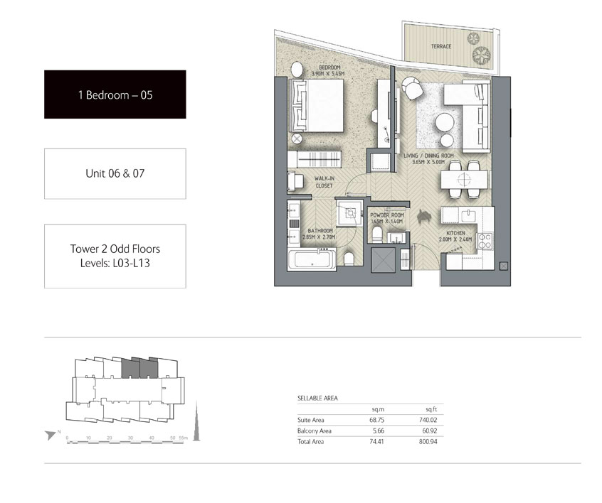 1-Bedroom,Unit-06-&-07,Tower-2,Size - 800.94 - Sq-Ft