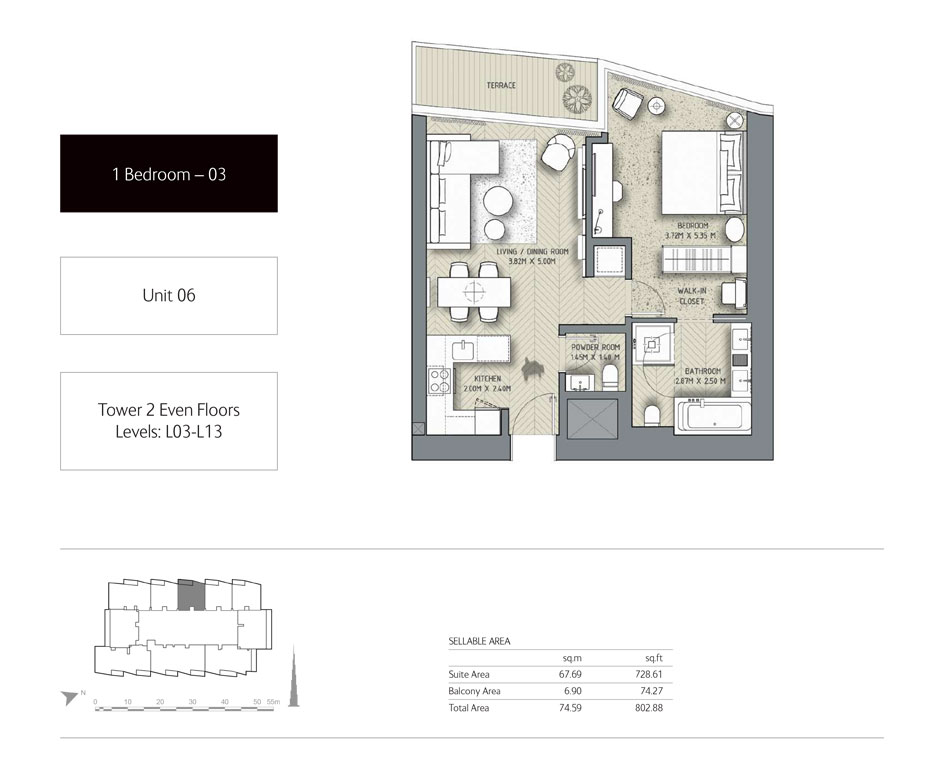 1-Bedroom,Unit-06,Tower-2,Size - 802.88 - Sq Ft