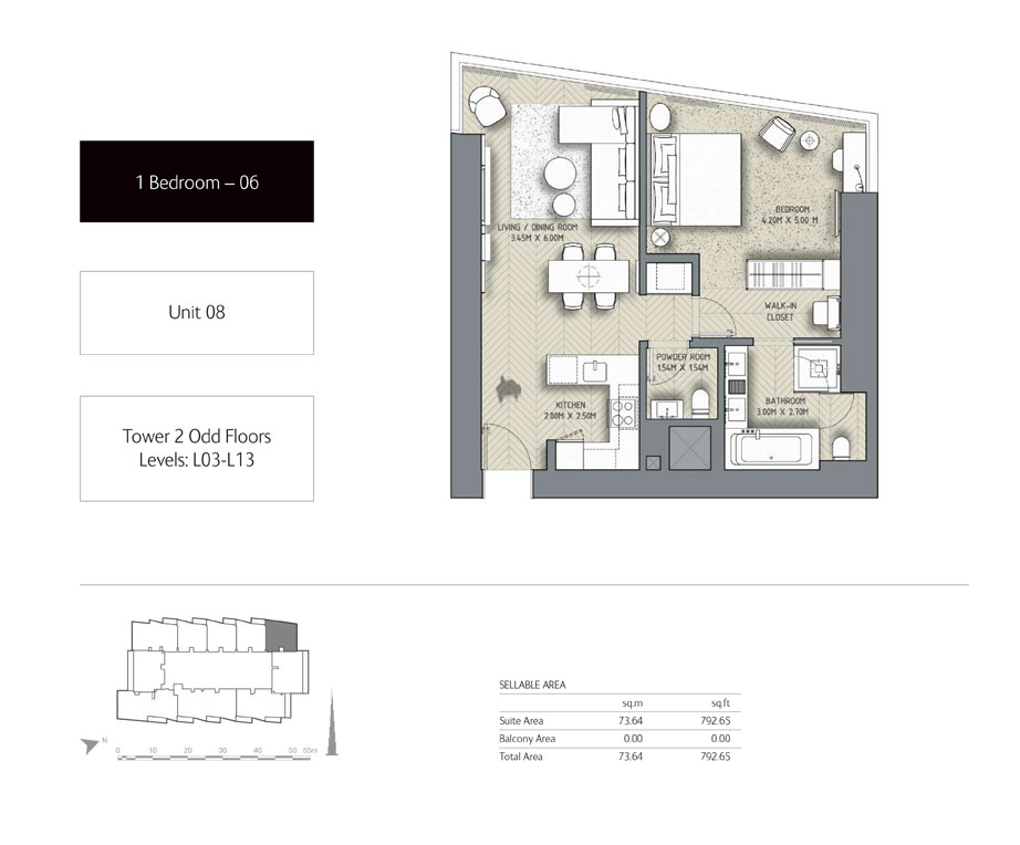 1-Bedroom,Unit-08,Tower-2,Size - 792.65 Sq-Ft