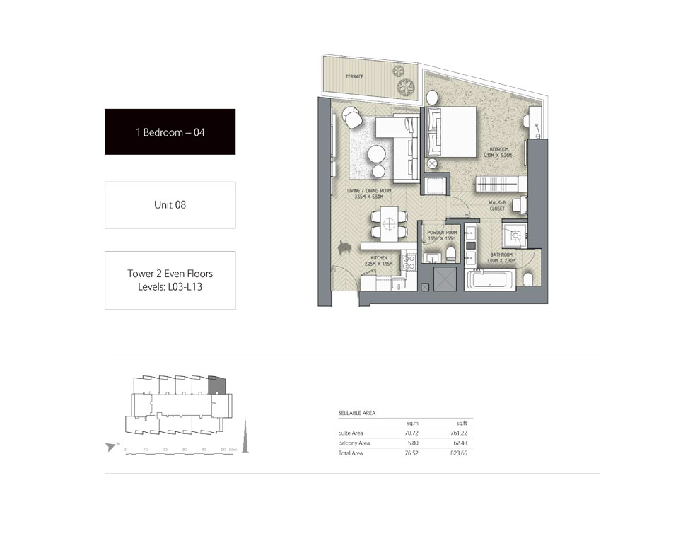 1-Bedroom,Unit-08,Tower-2,Size - 823.65 - Sq-Ft