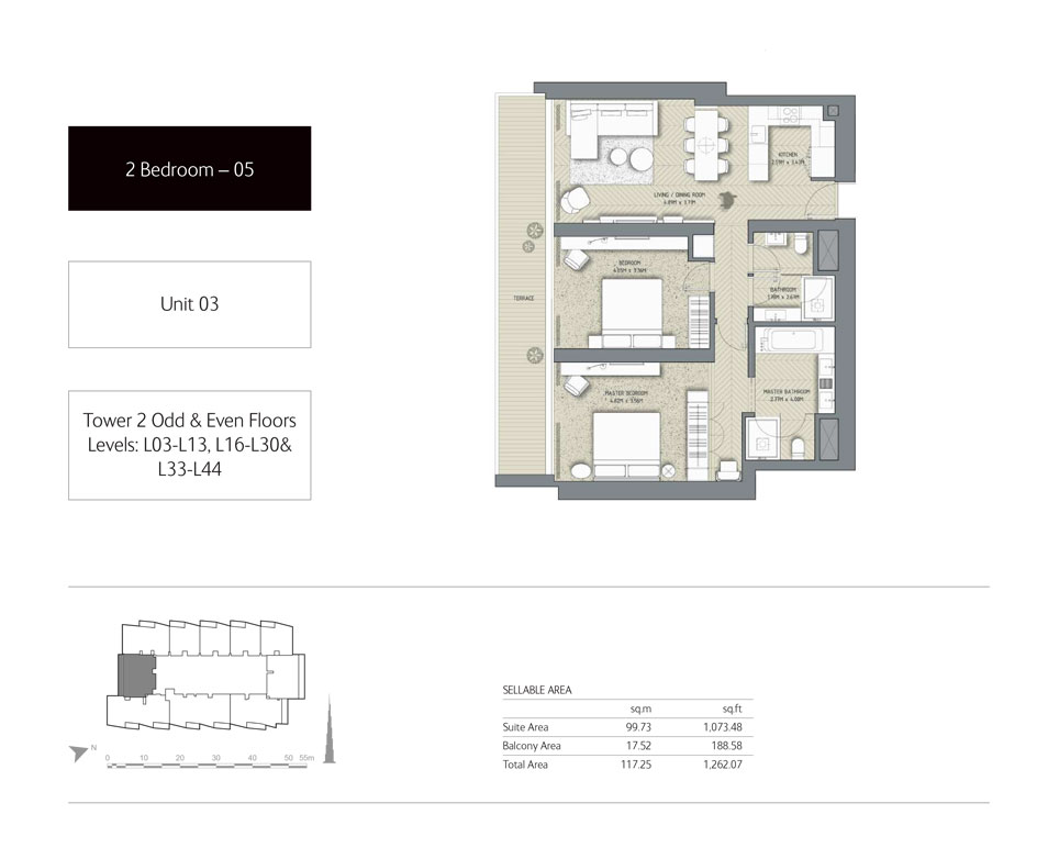 2-Bedroom,Unit-03,Tower-2,Size - 1262.07 Sq-Ft