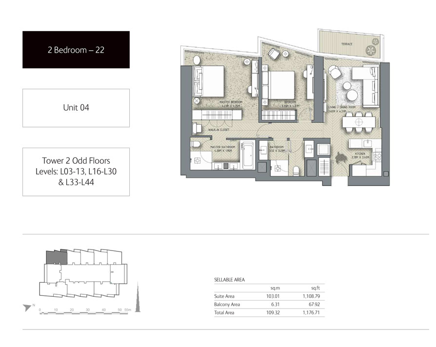 2-Bedroom,Unit-4,Tower-2,Size -1176.71 Sq-Ft