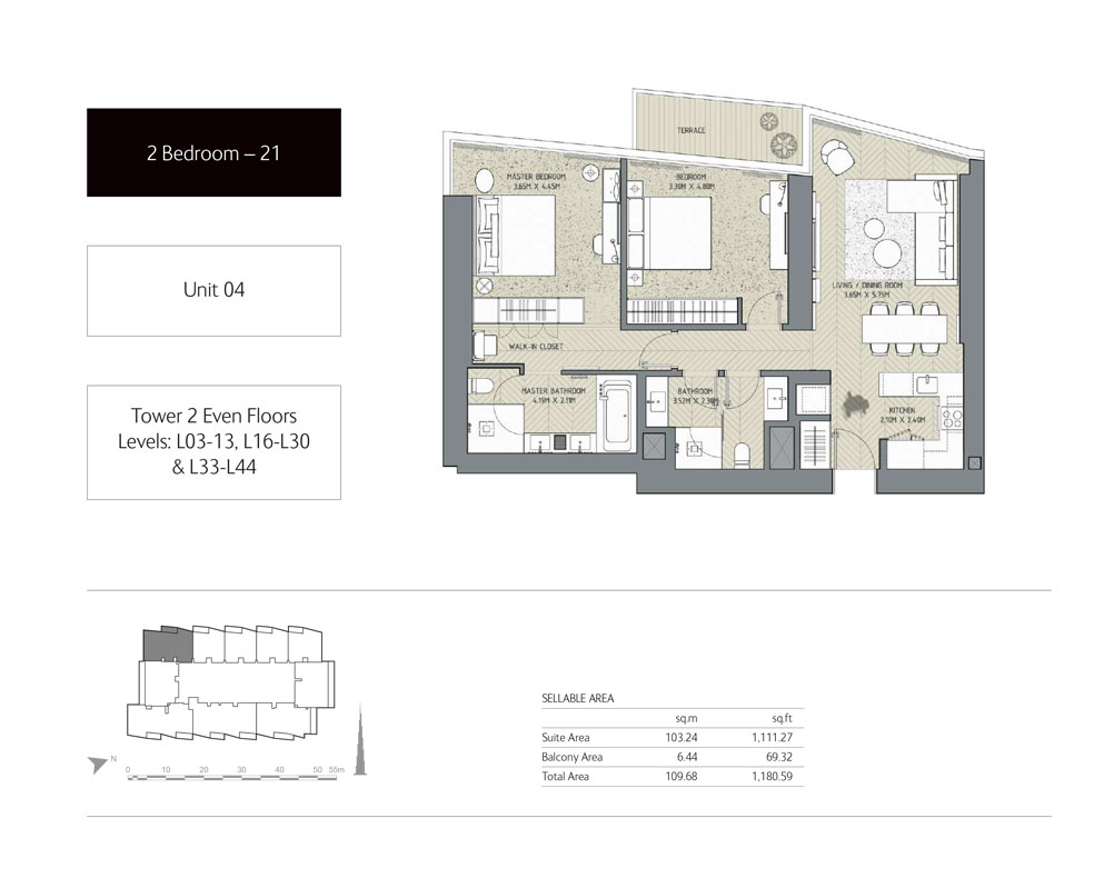 2-Bedroom,Unit-4,Tower-2,Size - 1180.59 Sq-Ft