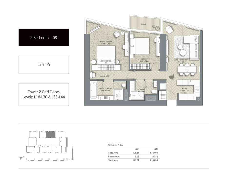 2-Bedroom,Unit-06,Tower-2,Size - 1194.90 Sq-Ft