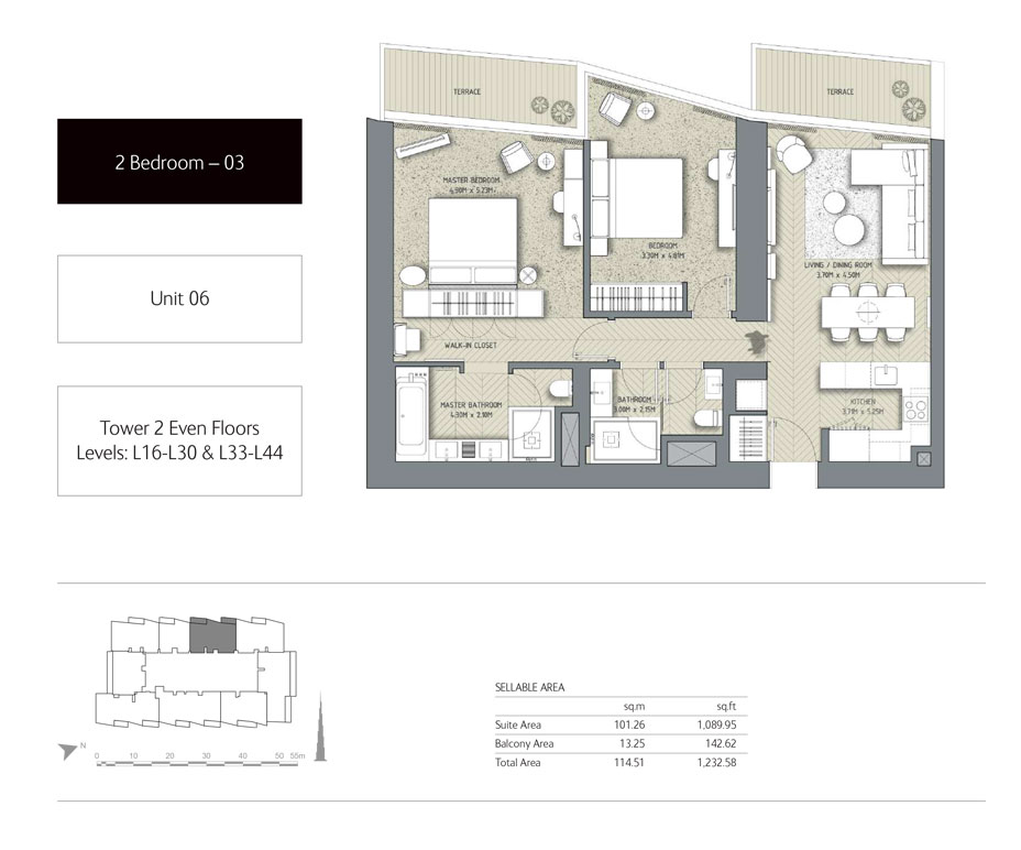 2-Bedroom,Unit-06,Tower-2,Size - 1232.58 Sq-Ft