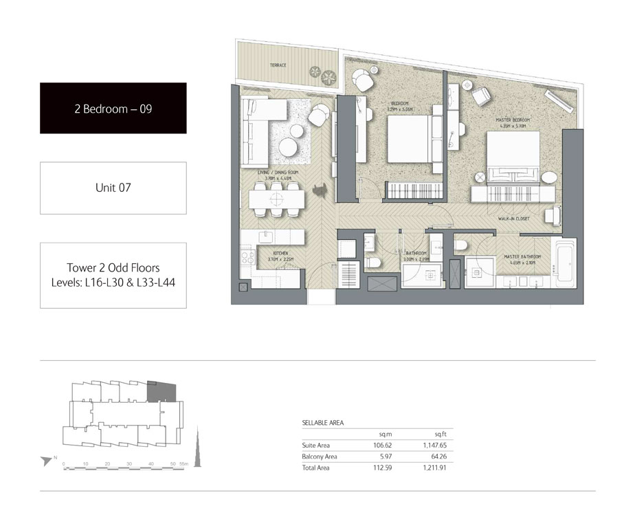 2-Bedroom,Unit-07,Tower-2,Size - 1211.91 Sq-Ft