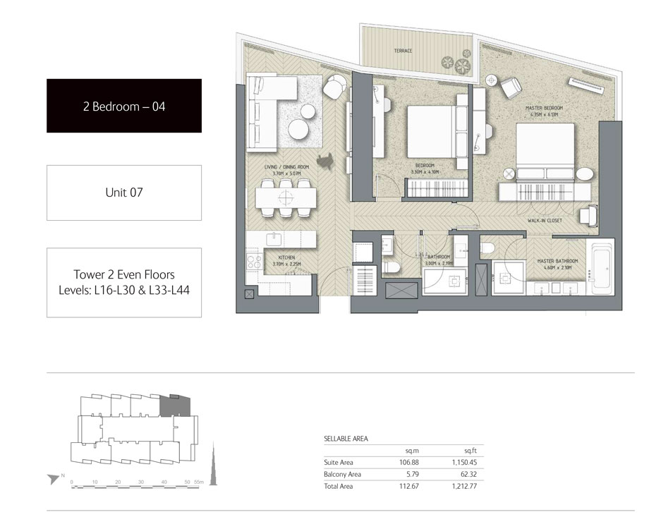 2-Bedroom,Unit-07,Tower-2,Size - 1212.77 Sq-Ft