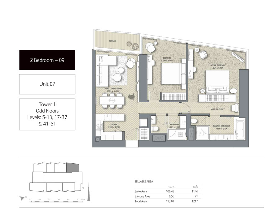 2-Bedroom,Unit-7,Tower-1,Size - 1217 Sq-Ft
