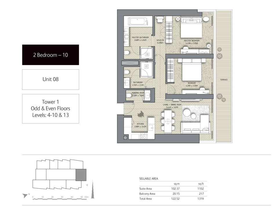 2-Bedroom,Unit-8,Tower-1,Size - 1319 Sq-Ft