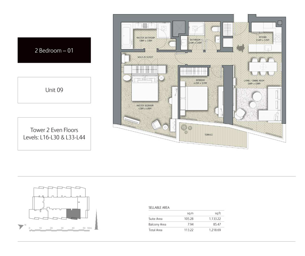 2-Bedroom,Unit-09,Tower-2,Size - 1218.69 Sq-Ft