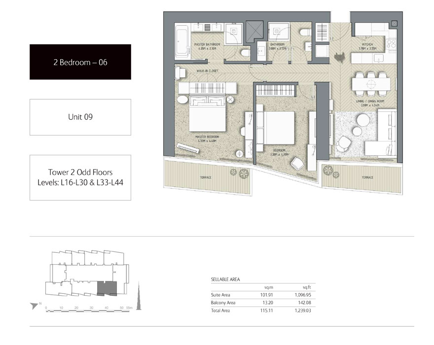 2-Bedroom,Unit-09,Tower-2,Size - 1239.03 Sq-Ft