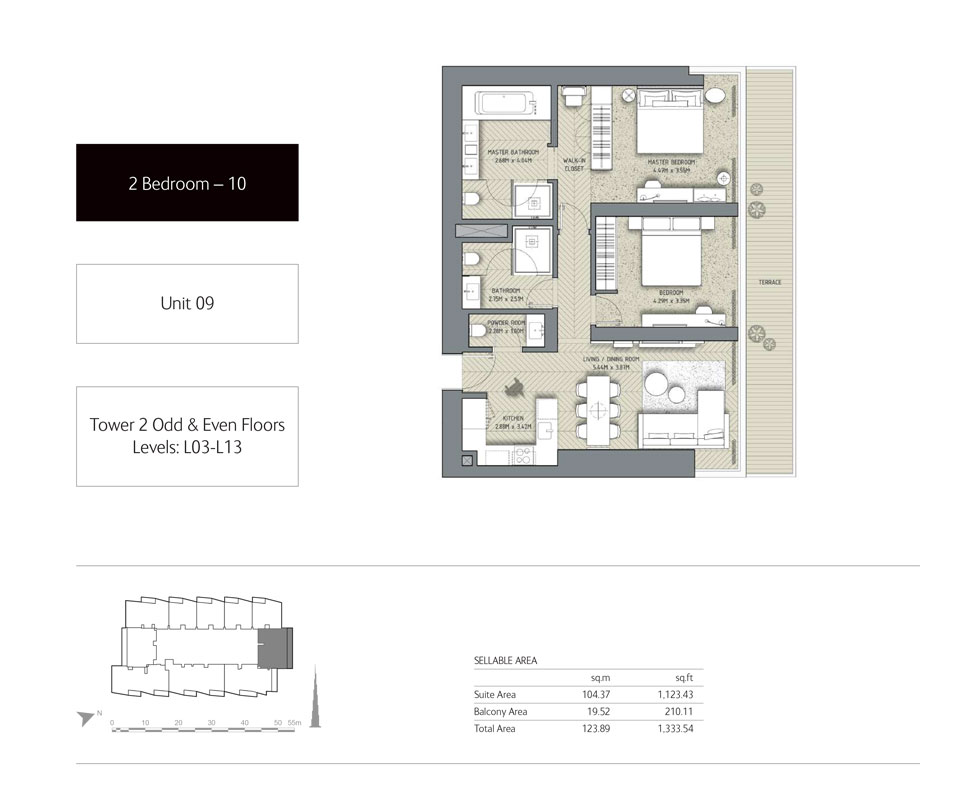 2-Bedroom,Unit-09,Tower-2,Size - 1333.54 Sq-Ft
