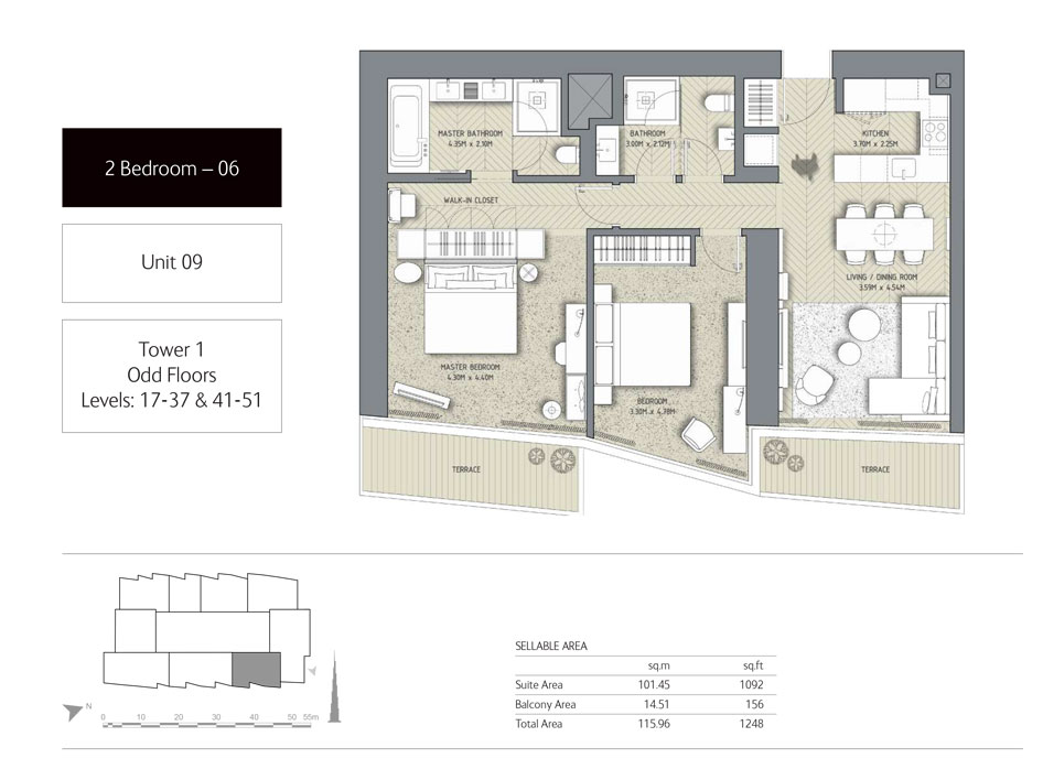 2-Bedroom,Unit-9,Tower-1, Size - 1248 Sq-Ft