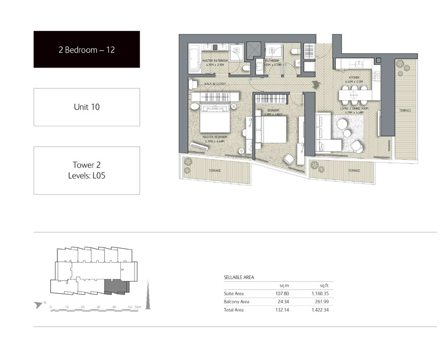 2-Bedroom,Unit-10,Tower-2,Size - 1422.34 Sq-Ft