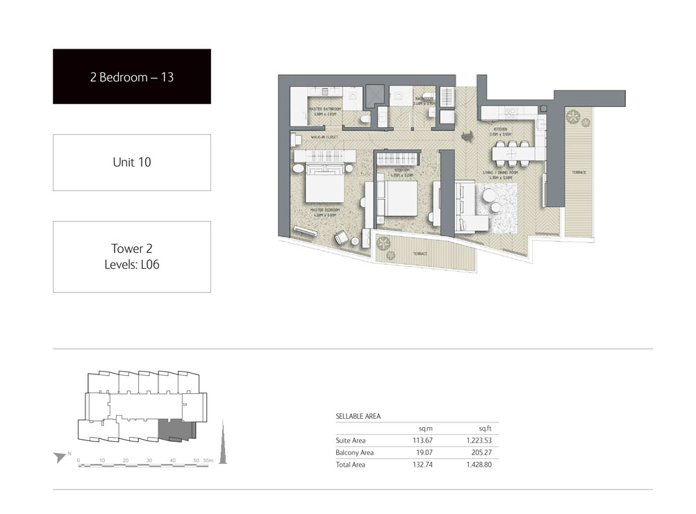 2-Bedroom,Unit-10,Tower-2,Size -1428.80 Sq-Ft
