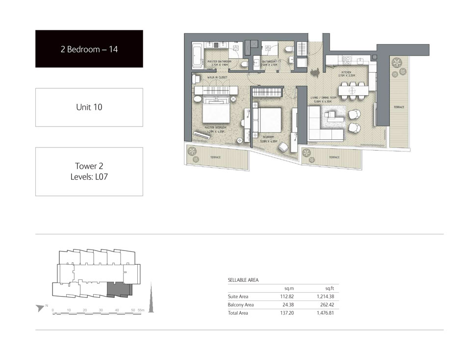 2-Bedroom,Unit-10,Tower-2,Size - 1476.81 Sq-Ft