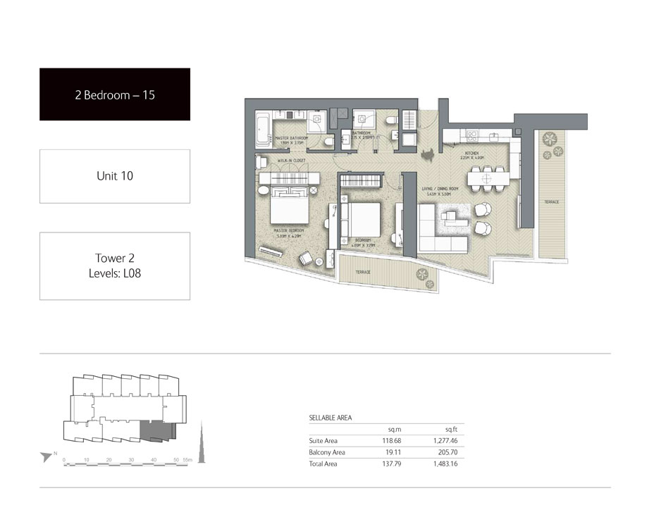 2-Bedroom,Unit-10,Tower-2,Size -1483.16 Sq-Ft