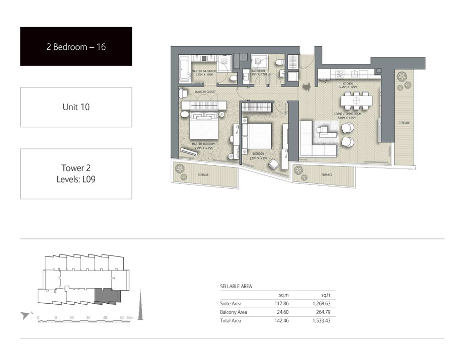 2-Bedroom,Unit-10,Tower-2,Size -1533.43 Sq-Ft