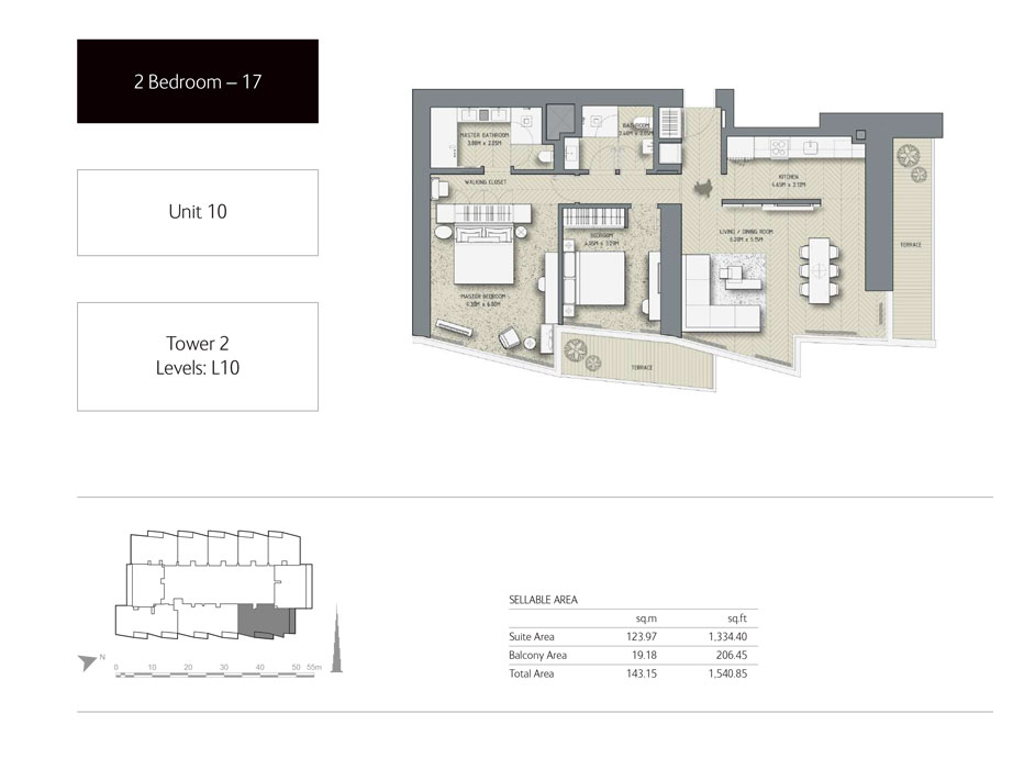 2-Bedroom,Unit-10,Tower-2,Size -1540.85 Sq-Ft
