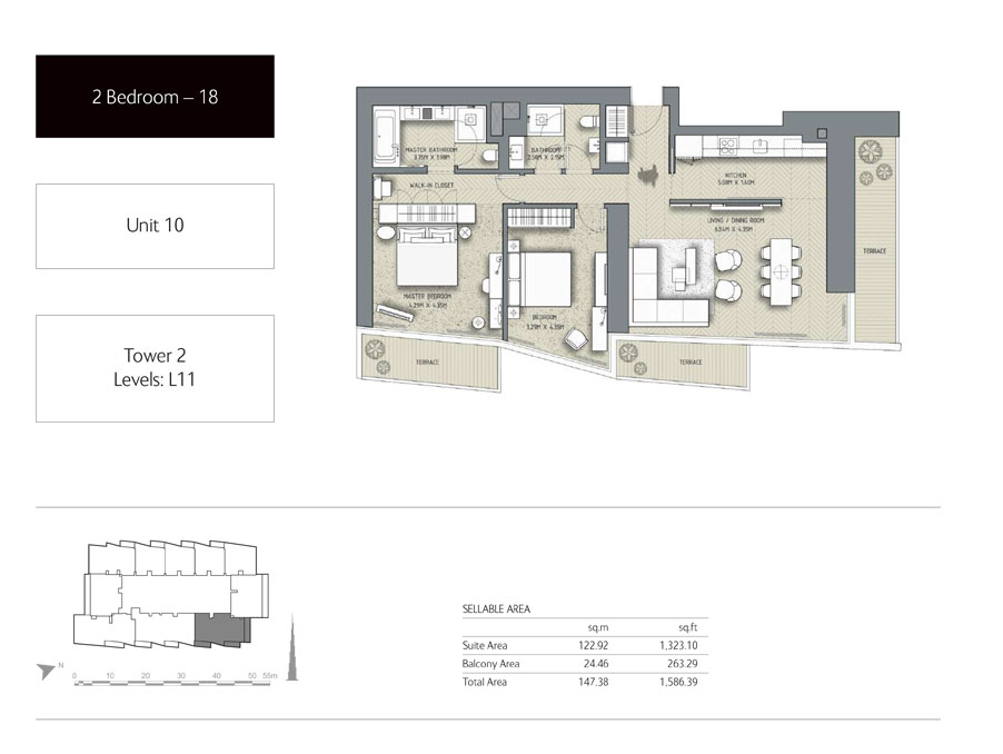 2-Bedroom,Unit-10,Tower-2,Size -1586.39 Sq-Ft