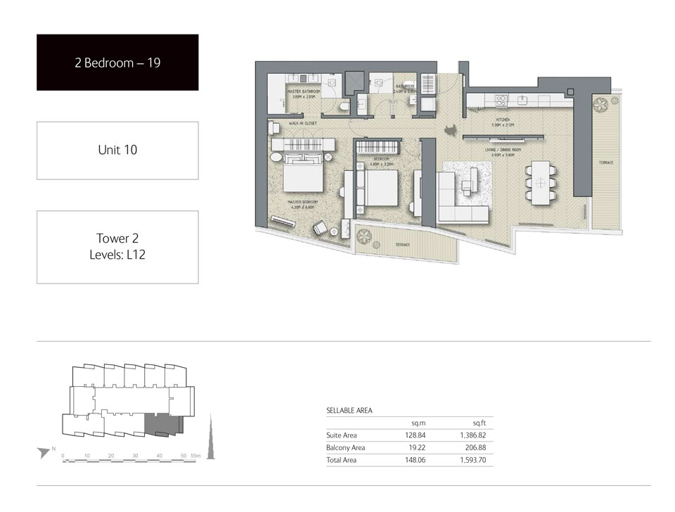2-Bedroom,Unit-10,Tower-2,Size -1593.70 Sq-Ft