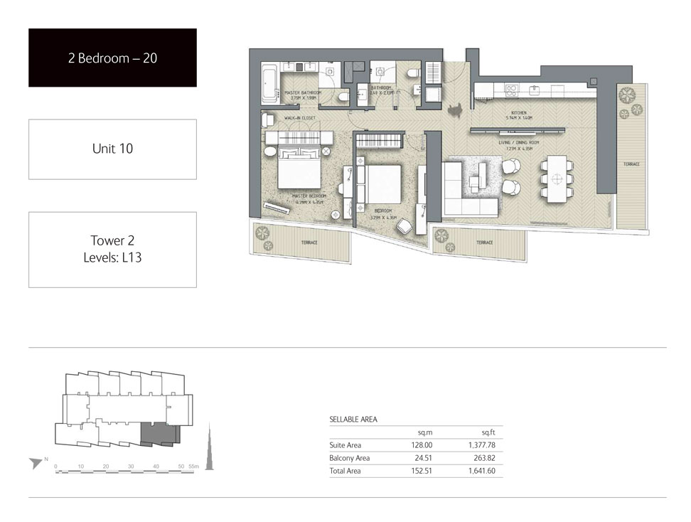 2-Bedroom,Unit-10,Tower-2,Size -1641.60 Sq-Ft