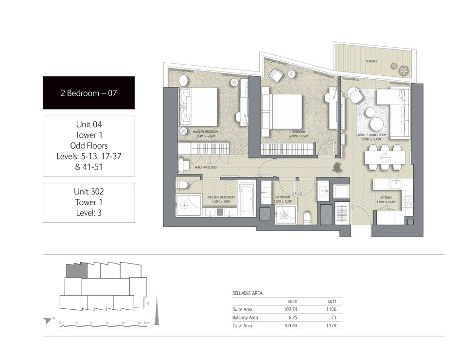 2-Bedroom,Unit-302,Tower-1,Size - 1179 Sq-Ft