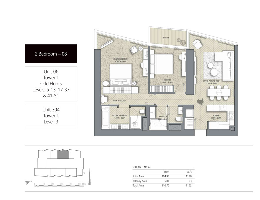 2-Bedroom,Unit-304,Tower-1,Size -1193 Sq-Ft